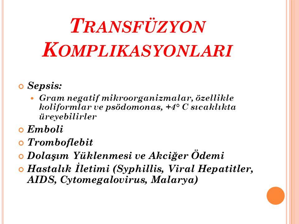 Transfüzyon Komplikasyonlari
