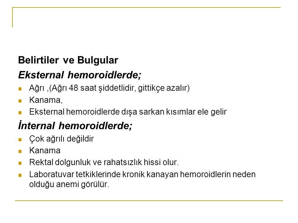 Belirtiler ve Bulgular Eksternal hemoroidlerde;
