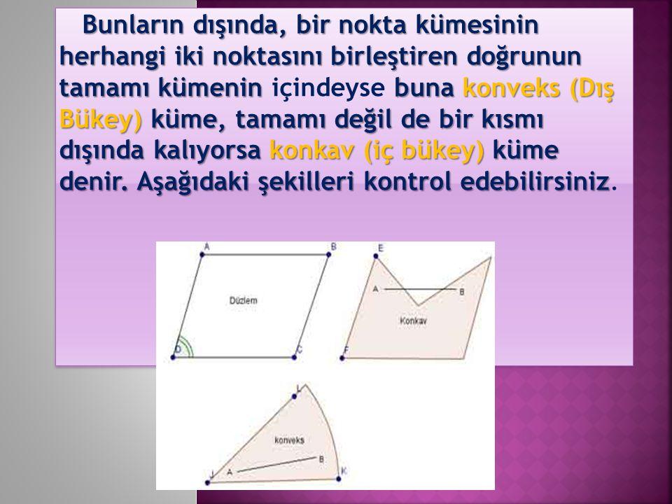 Bunların dışında, bir nokta kümesinin herhangi iki noktasını birleştiren doğrunun tamamı kümenin içindeyse buna konveks (Dış Bükey) küme, tamamı değil de bir kısmı dışında kalıyorsa konkav (iç bükey) küme denir.