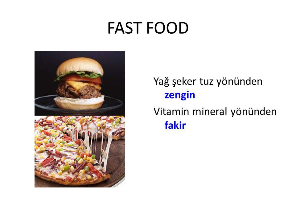 FAST FOOD Yağ şeker tuz yönünden zengin Vitamin mineral yönünden fakir