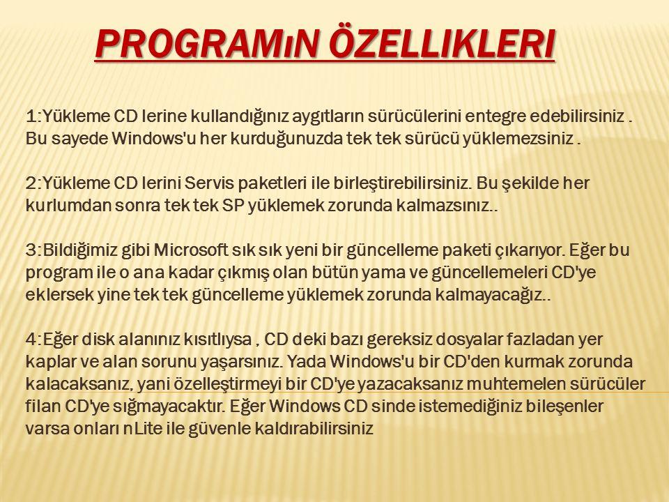 Programın özellikleri
