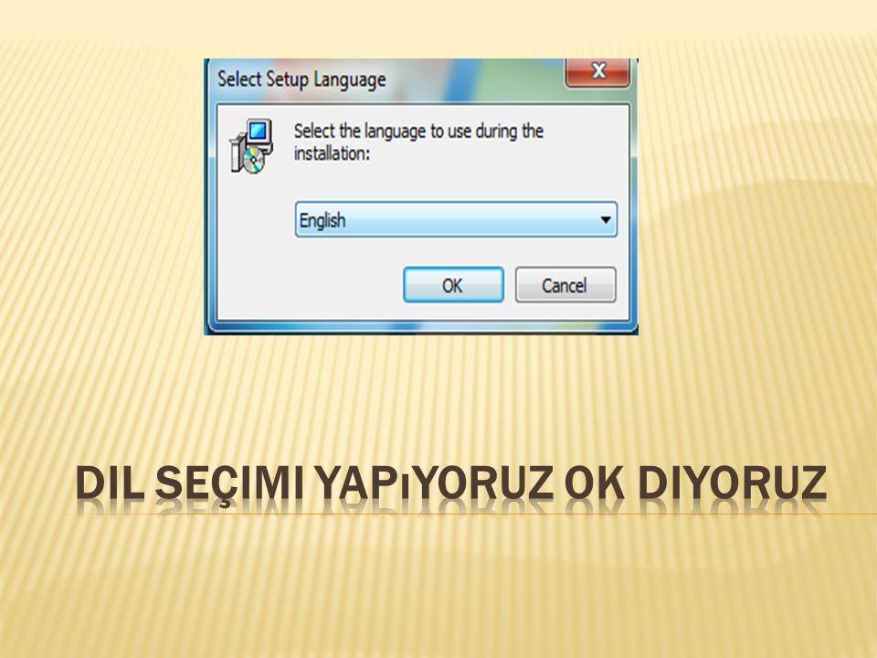 Dil seçimi yapıyoruz OK diyoruz