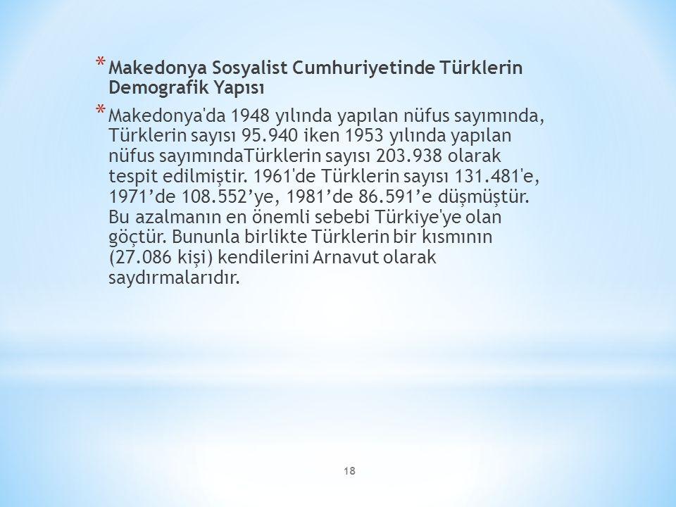 Makedonya Sosyalist Cumhuriyetinde Türklerin Demografik Yapısı