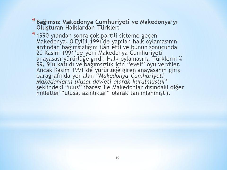 Bağımsız Makedonya Cumhuriyeti ve Makedonya'yı Oluşturan Halklardan Türkler: