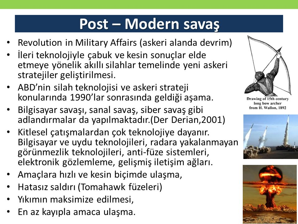 Post – Modern savaş Revolution in Military Affairs (askeri alanda devrim)