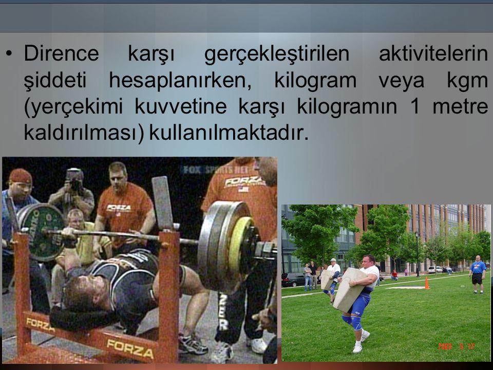 Dirence karşı gerçekleştirilen aktivitelerin şiddeti hesaplanırken, kilogram veya kgm (yerçekimi kuvvetine karşı kilogramın 1 metre kaldırılması) kullanılmaktadır.