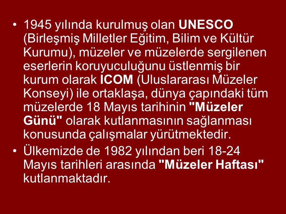 1945 yılında kurulmuş olan UNESCO (Birleşmiş Milletler Eğitim, Bilim ve Kültür Kurumu), müzeler ve müzelerde sergilenen eserlerin koruyuculuğunu üstlenmiş bir kurum olarak ICOM (Uluslararası Müzeler Konseyi) ile ortaklaşa, dünya çapındaki tüm müzelerde 18 Mayıs tarihinin Müzeler Günü olarak kutlanmasının sağlanması konusunda çalışmalar yürütmektedir.