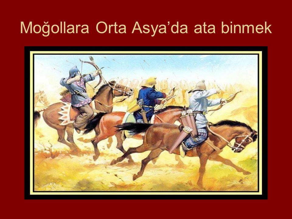 Moğollara Orta Asya'da ata binmek