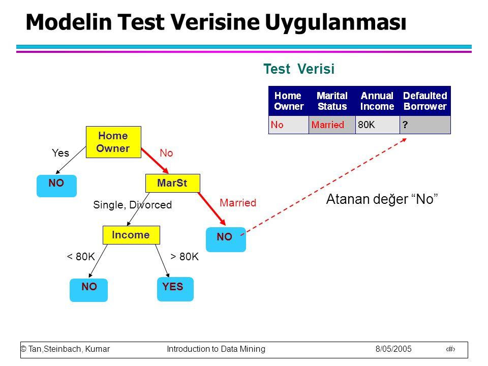 Modelin Test Verisine Uygulanması