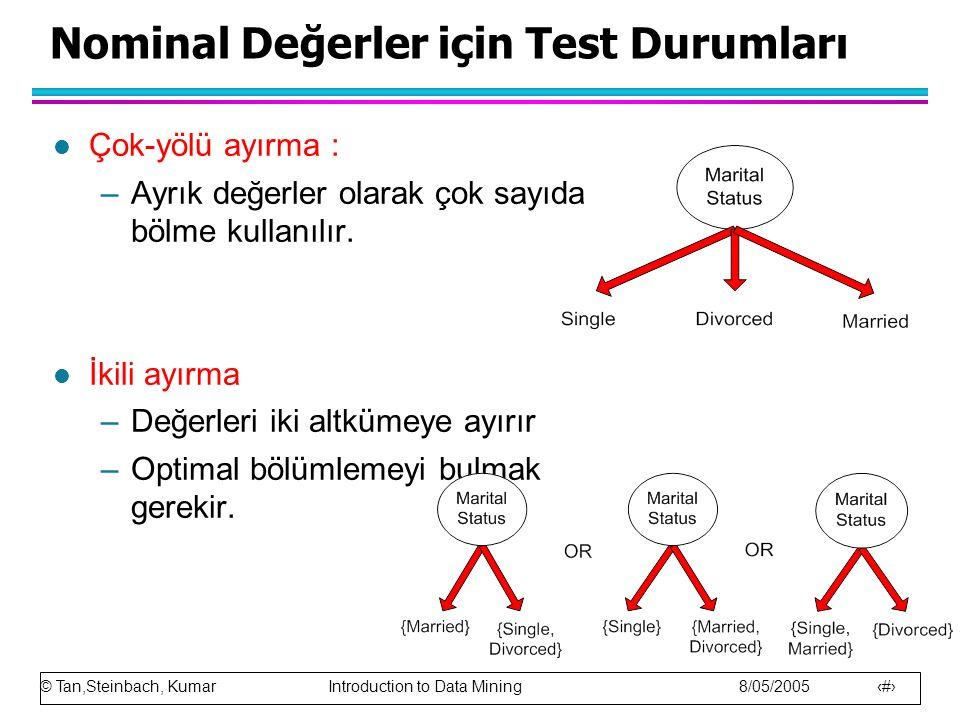 Nominal Değerler için Test Durumları