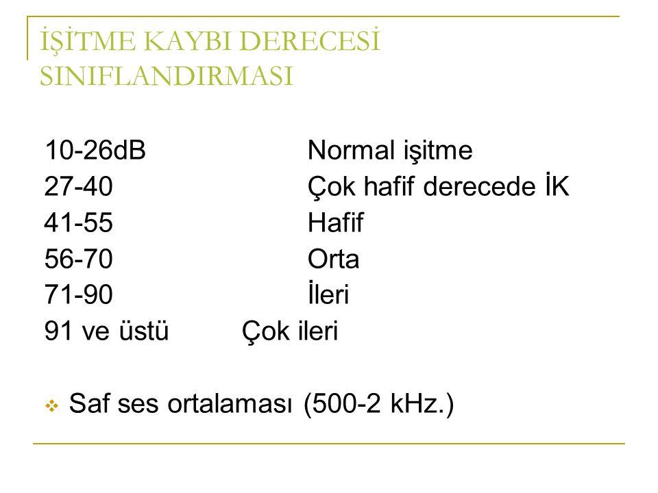 İŞİTME KAYBI DERECESİ SINIFLANDIRMASI