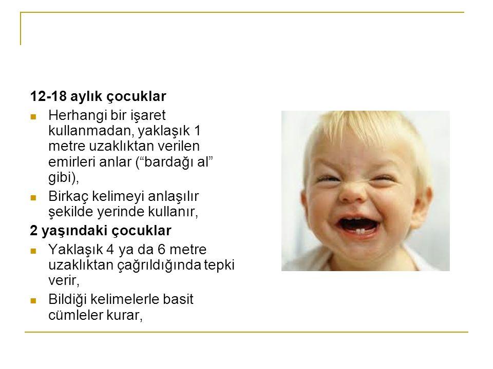 12-18 aylık çocuklar Herhangi bir işaret kullanmadan, yaklaşık 1 metre uzaklıktan verilen emirleri anlar ( bardağı al gibi),
