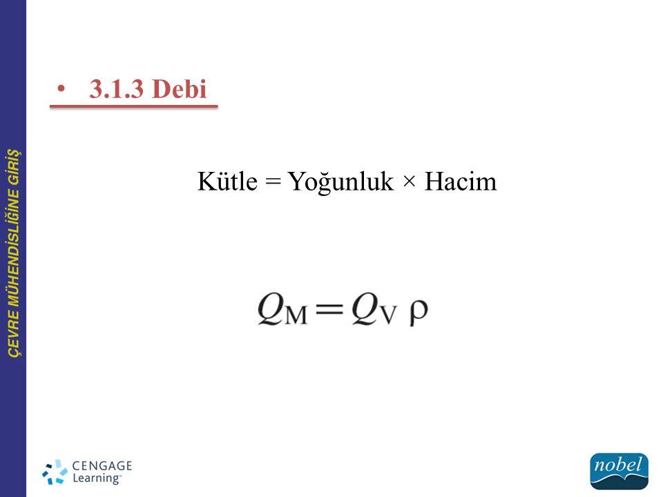 3.1.3 Debi Kütle = Yoğunluk × Hacim