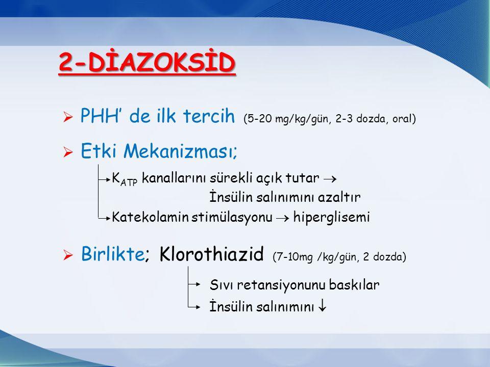 2-DİAZOKSİD PHH' de ilk tercih (5-20 mg/kg/gün, 2-3 dozda, oral)