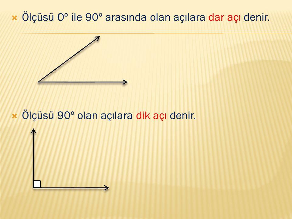 Ölçüsü Oº ile 90º arasında olan açılara dar açı denir.