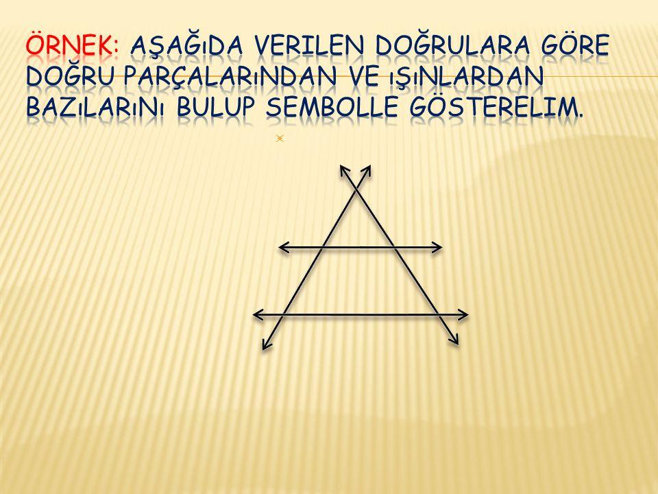 ÖRNEK: Aşağıda verilen doğrulara göre doğru parçalarından ve ışınlardan bazılarını bulup sembolle gösterelim.