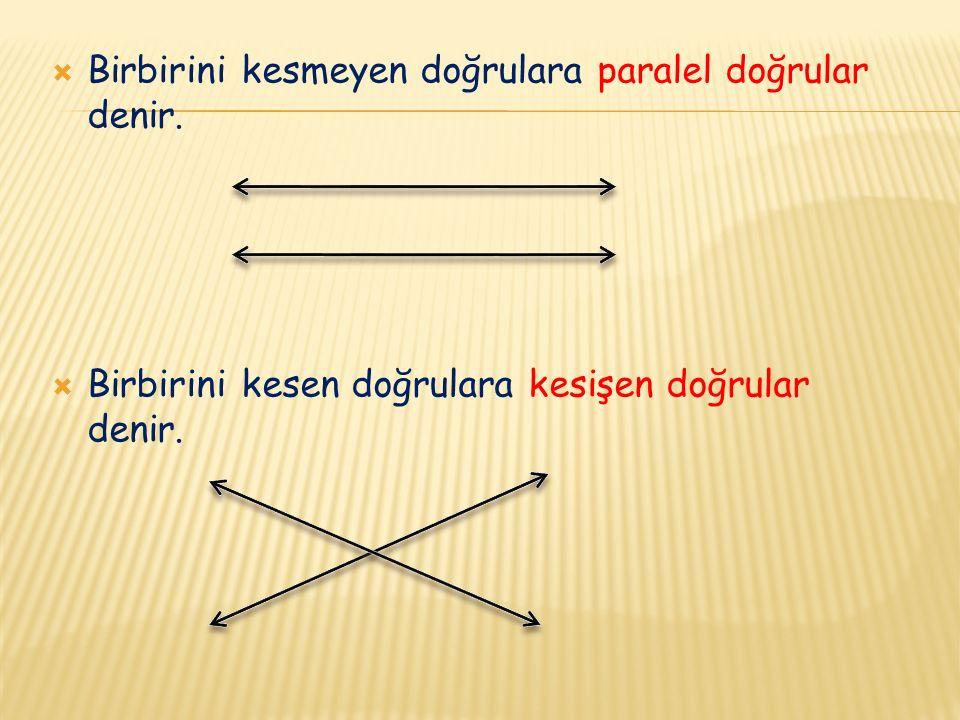 Birbirini kesmeyen doğrulara paralel doğrular denir.