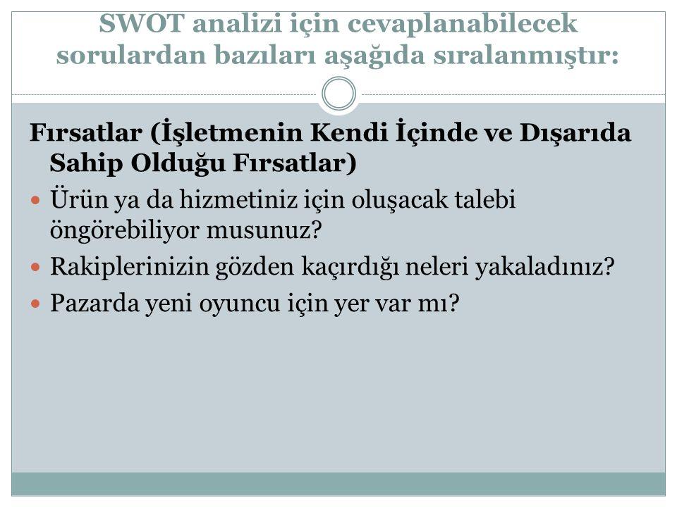 SWOT analizi için cevaplanabilecek sorulardan bazıları aşağıda sıralanmıştır: