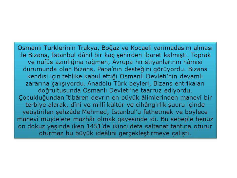 Osmanlı Türklerinin Trakya, Boğaz ve Kocaeli yarımadasını alması ile Bizans, İstanbul dâhil bir kaç şehirden ibaret kalmıştı. Toprak ve nüfûs azınlığına rağmen, Avrupa hıristiyanlarının hâmisi durumunda olan Bizans, Papa'nın desteğini görüyordu. Bizans kendisi için tehlike kabul ettiği Osmanlı Devleti'nin devamlı zararına çalışıyordu. Anadolu Türk beyleri, Bizans entrikaları doğrultusunda Osmanlı Devleti'ne taarruz ediyordu.