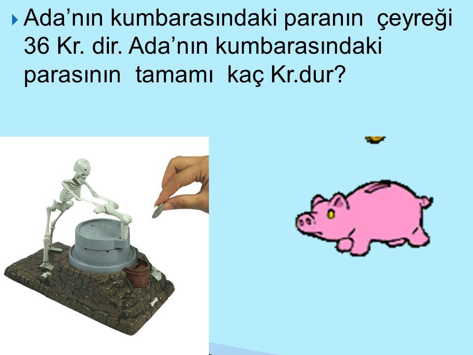Ada'nın kumbarasındaki paranın çeyreği 36 Kr. dir