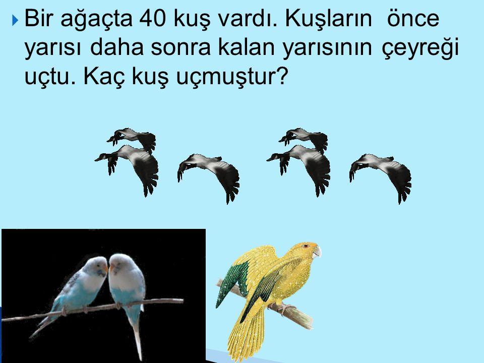 Bir ağaçta 40 kuş vardı. Kuşların önce yarısı daha sonra kalan yarısının çeyreği uçtu.