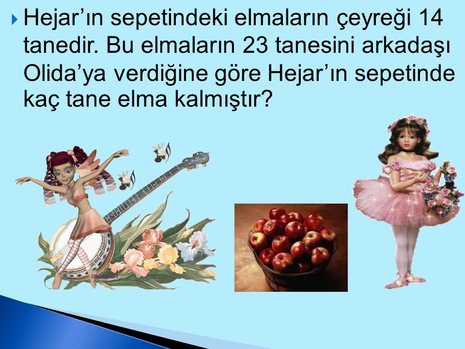 Hejar'ın sepetindeki elmaların çeyreği 14 tanedir