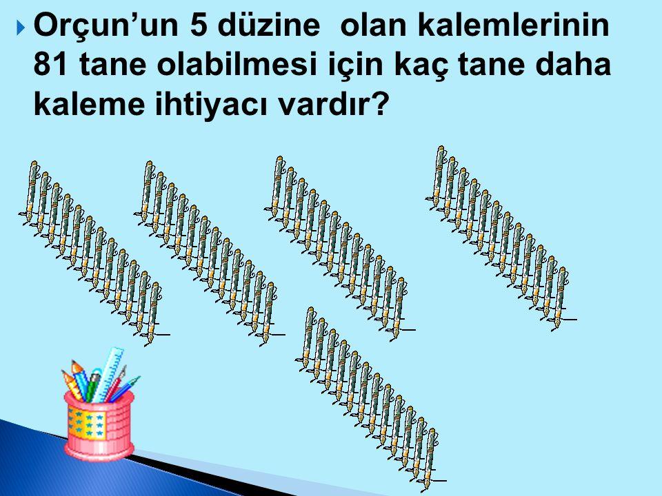 Orçun'un 5 düzine olan kalemlerinin 81 tane olabilmesi için kaç tane daha kaleme ihtiyacı vardır