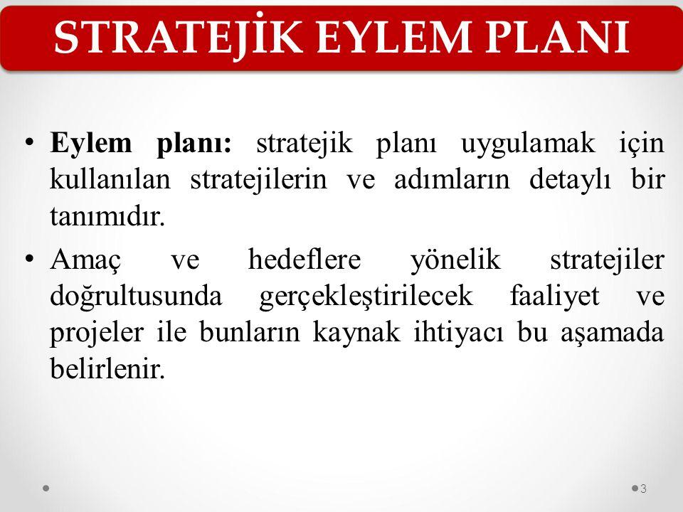 STRATEJİK EYLEM PLANI Eylem planı: stratejik planı uygulamak için kullanılan stratejilerin ve adımların detaylı bir tanımıdır.
