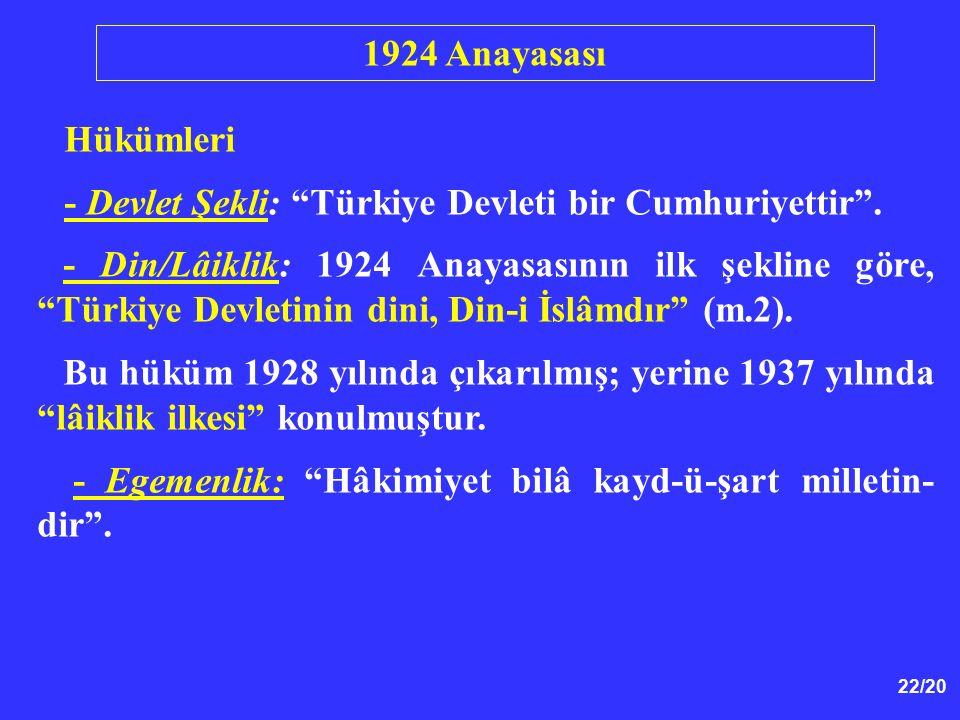 1924 Anayasası Hükümleri. - Devlet Şekli: Türkiye Devleti bir Cumhuriyettir .