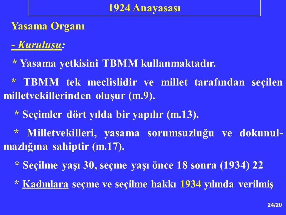 1924 Anayasası Yasama Organı. - Kuruluşu: * Yasama yetkisini TBMM kullanmaktadır.
