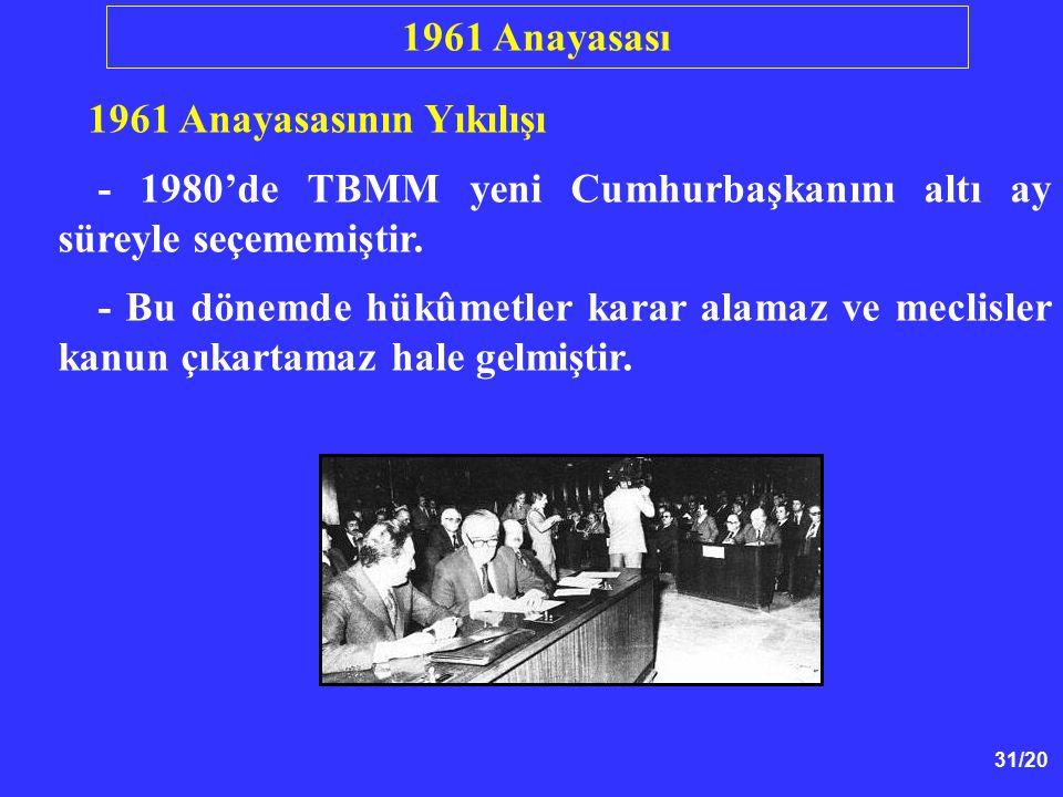 1961 Anayasası 1961 Anayasasının Yıkılışı. - 1980'de TBMM yeni Cumhurbaşkanını altı ay süreyle seçememiştir.