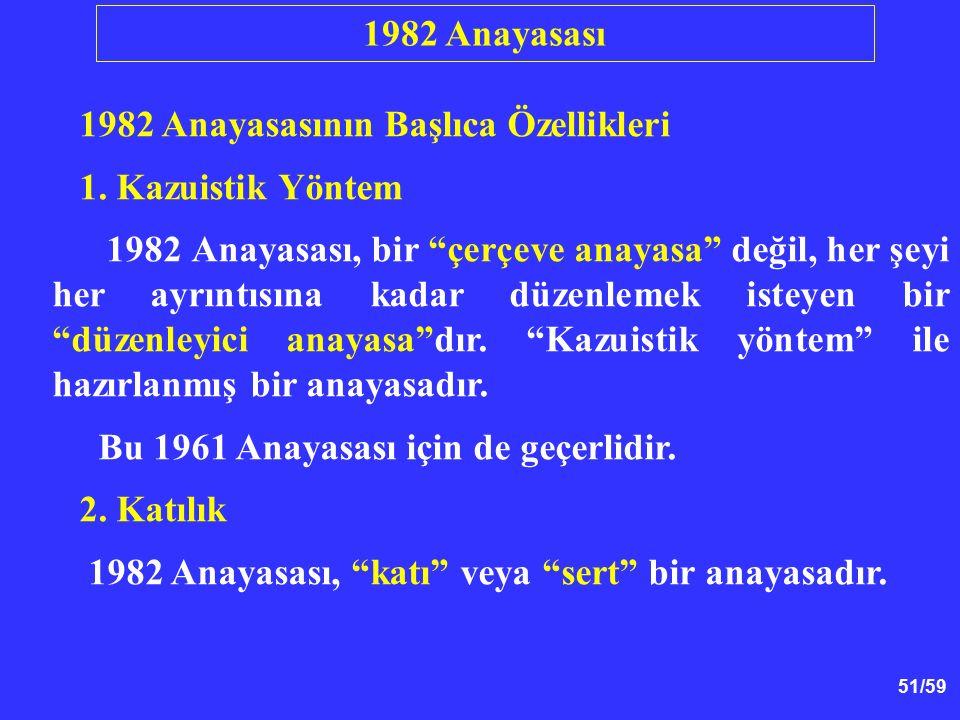 1982 Anayasası 1982 Anayasasının Başlıca Özellikleri. 1. Kazuistik Yöntem.