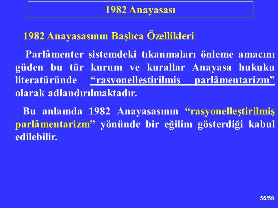 1982 Anayasası 1982 Anayasasının Başlıca Özellikleri.