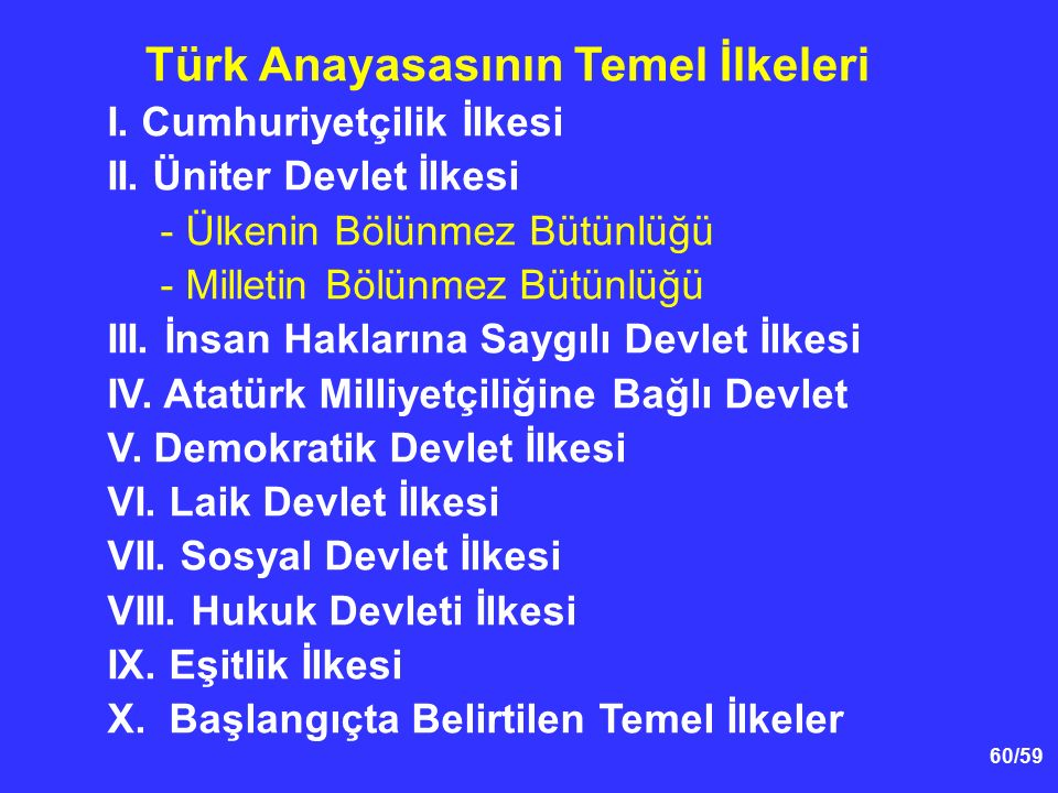 Türk Anayasasının Temel İlkeleri