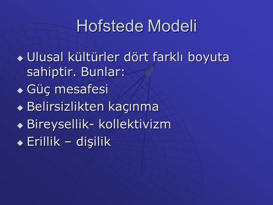 Hofstede Modeli Ulusal kültürler dört farklı boyuta sahiptir. Bunlar: