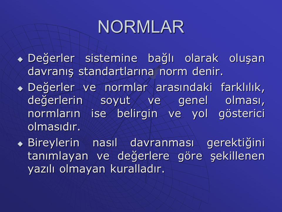 NORMLAR Değerler sistemine bağlı olarak oluşan davranış standartlarına norm denir.