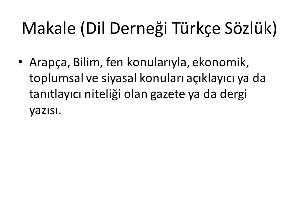 Makale (Dil Derneği Türkçe Sözlük)