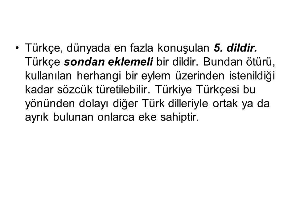 Türkçe, dünyada en fazla konuşulan 5. dildir