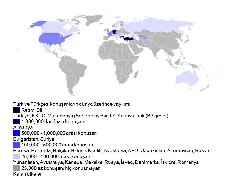 Türkiye Türkçesi konuşanların dünya üzerinde yayılımı