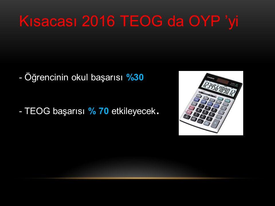 Kısacası 2016 TEOG da OYP 'yi
