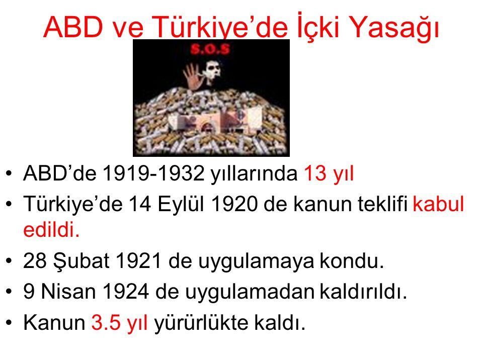 ABD ve Türkiye'de İçki Yasağı