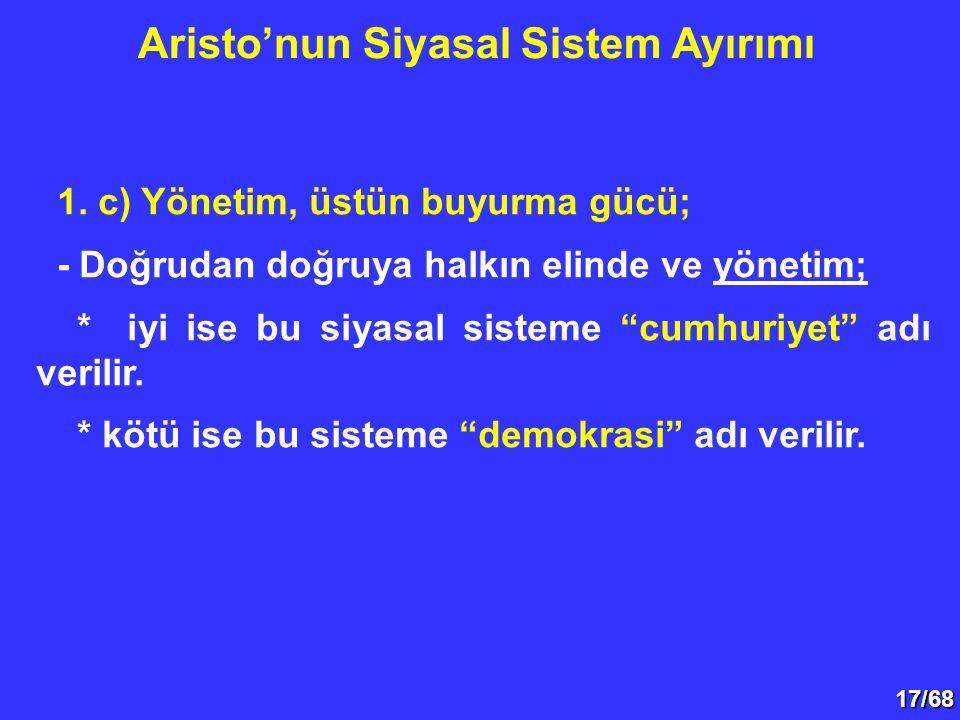 Aristo'nun Siyasal Sistem Ayırımı