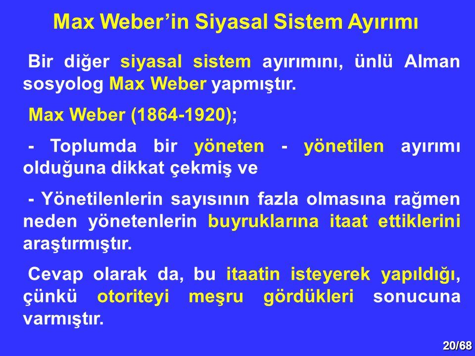 Max Weber'in Siyasal Sistem Ayırımı