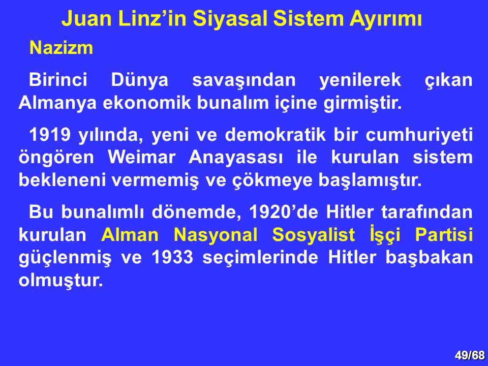Juan Linz'in Siyasal Sistem Ayırımı