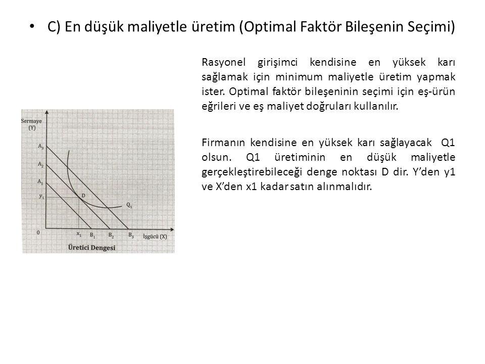 C) En düşük maliyetle üretim (Optimal Faktör Bileşenin Seçimi)