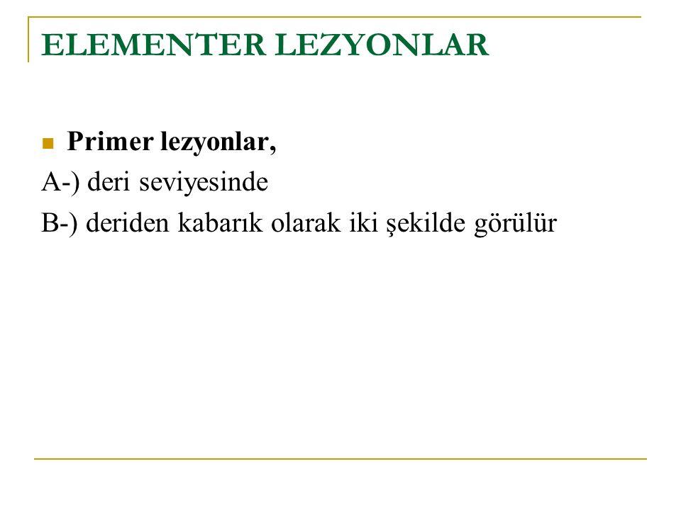 ELEMENTER LEZYONLAR Primer lezyonlar, A-) deri seviyesinde