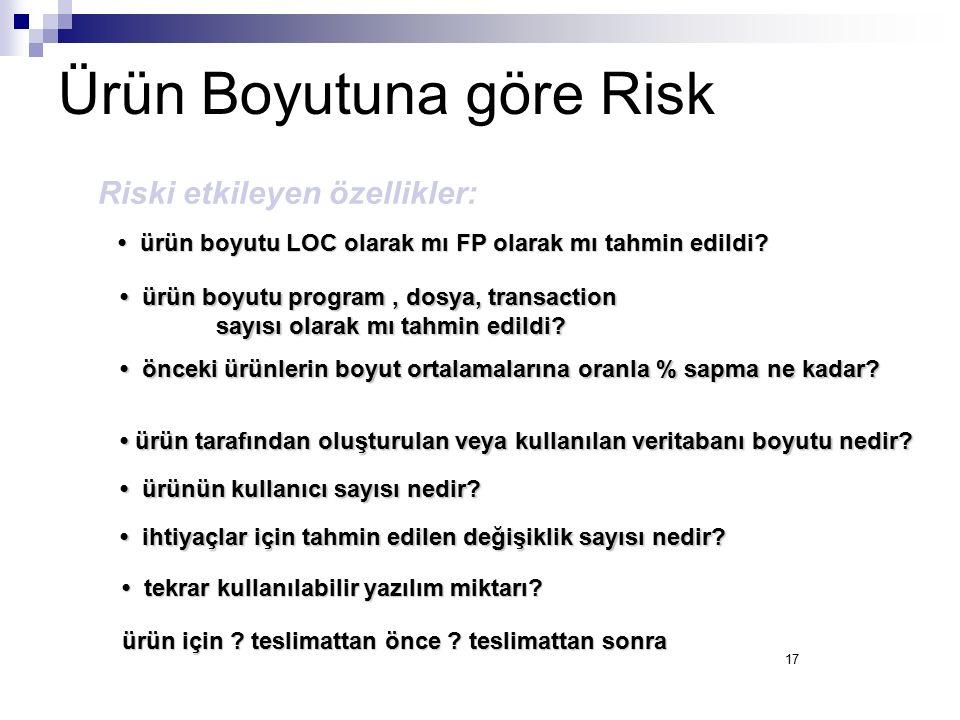 Ürün Boyutuna göre Risk
