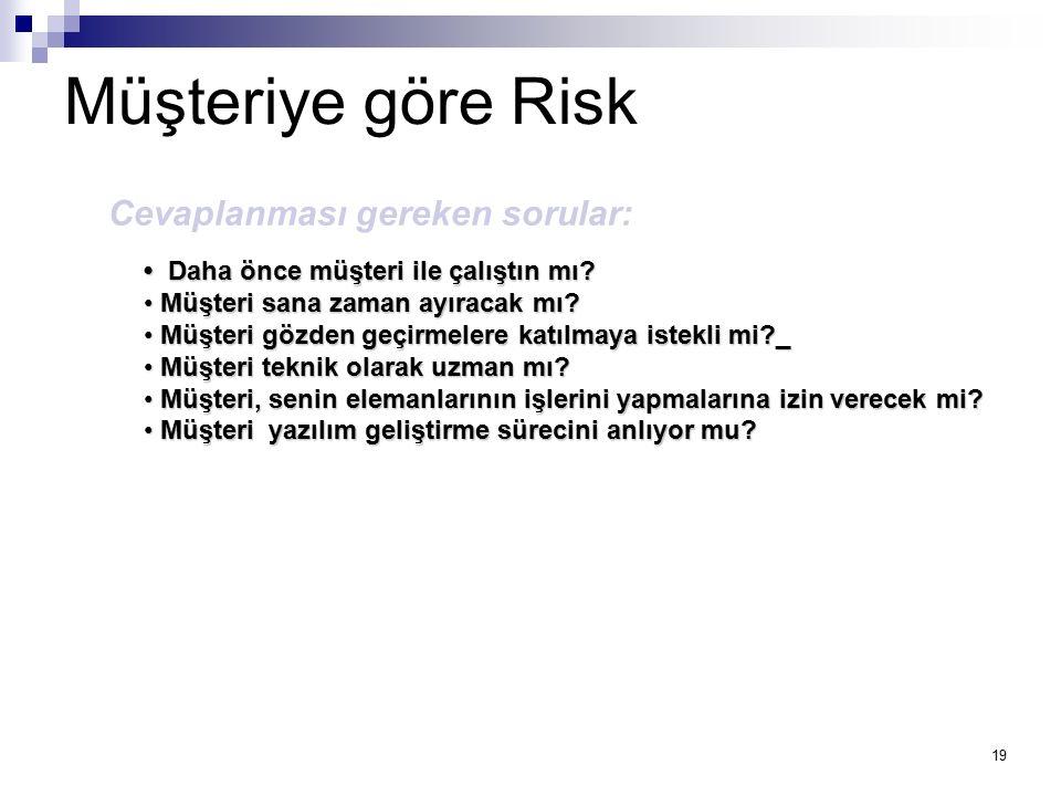Müşteriye göre Risk Cevaplanması gereken sorular: