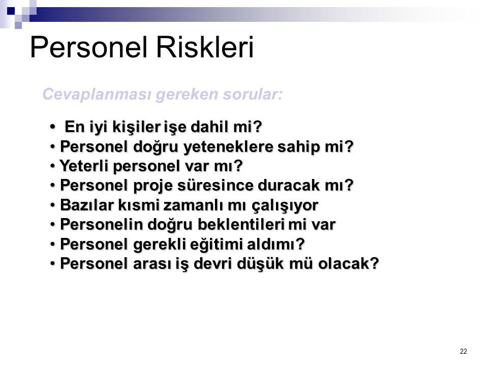 Personel Riskleri Cevaplanması gereken sorular: