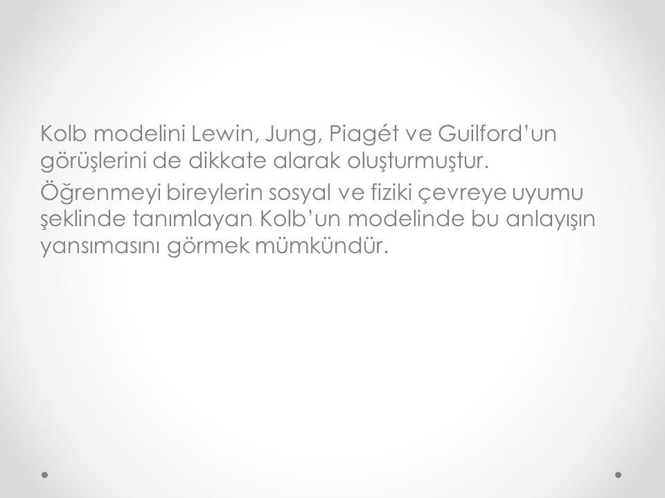 Kolb modelini Lewin, Jung, Piagét ve Guilford'un görüşlerini de dikkate alarak oluşturmuştur.